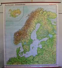 Schulwandkarte map Ostsee Baltic Sea Schweden Norwegen Danmark Skandia 180x210cm
