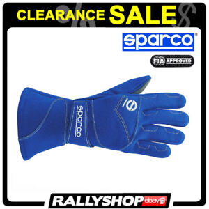 FIA-SFI-SPARCO-FLASH-GLOVES-size-9-Blue-Suede-Racing-Rally-CLEARANCE-SALE