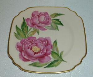 Syracuse-Salad-Plate-THE-PEONY-Vtg-China-Square-Gold-Trim-Onondaga-Pottery-8-034