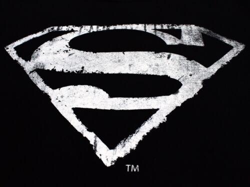 Superman Logo Mono Distressed Man of Steel Classic DC comics Black Mens T-shirt