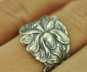 Beautiful-925-Sterling-Silver-Floral-Flower-Spoon-Ring