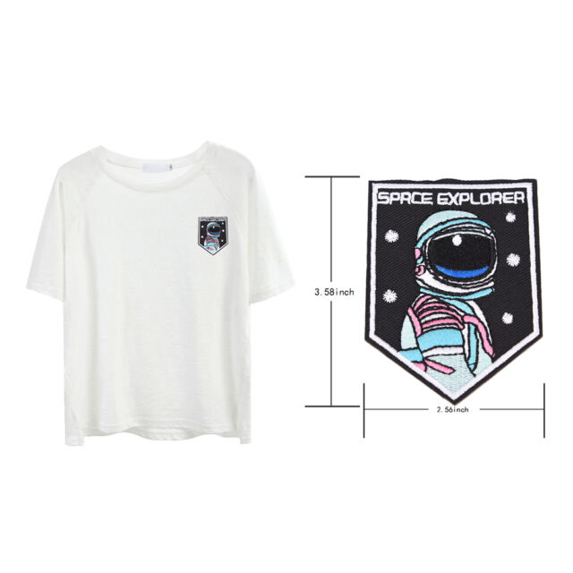 embroidery sew iron on patch astronaut badge transfers cloth fabric applique BH