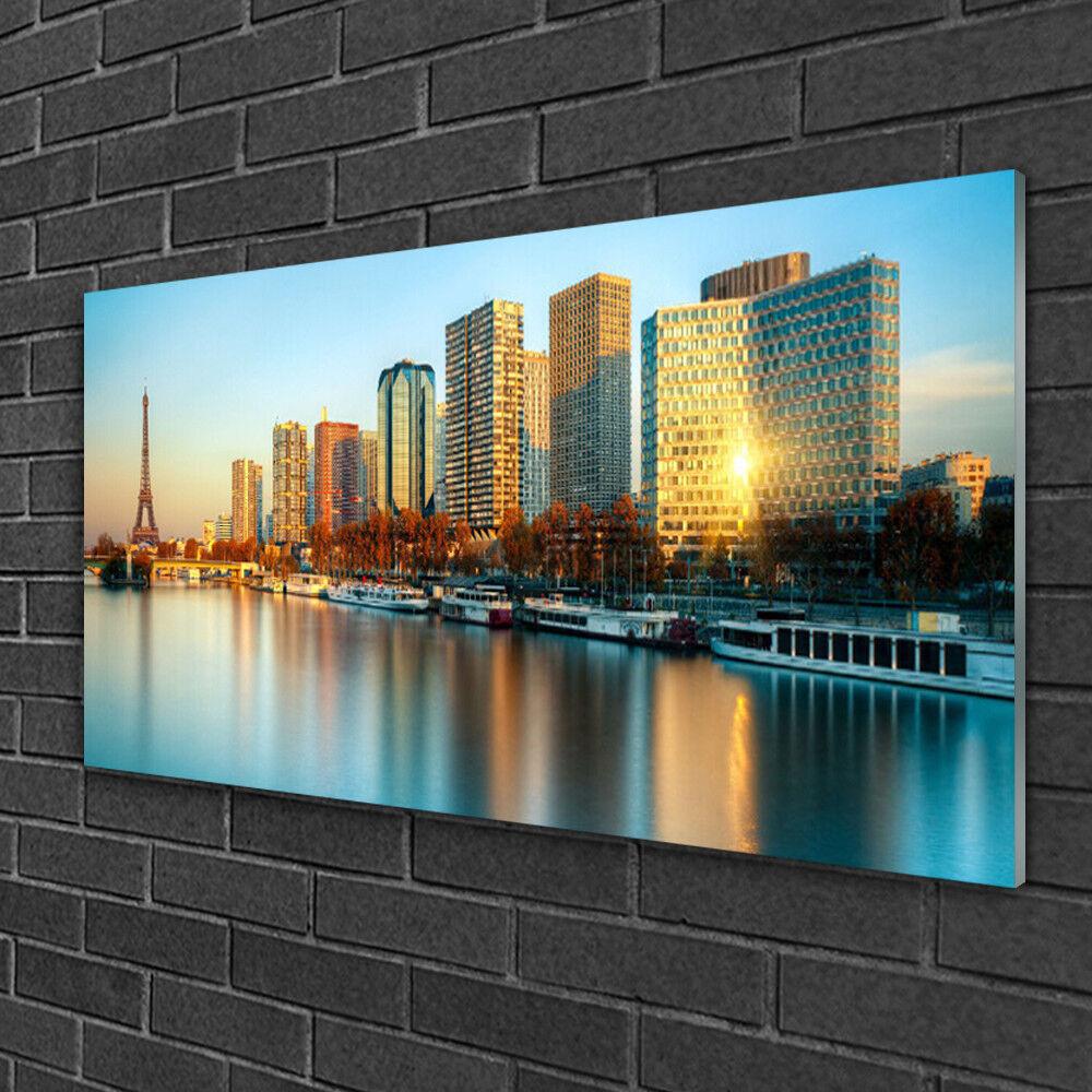 Tableau sur verre Image Impression 100x50 Batiments Ville Mer