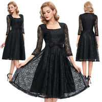 Women's Vintage Style 1950's Lace Floral Retro Swing Pinup Evening Party Dresses