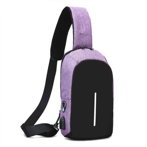 Anti-Diebstahl Rucksack mit USB Port Tragetasche Schultertasche Brusttasche Bag