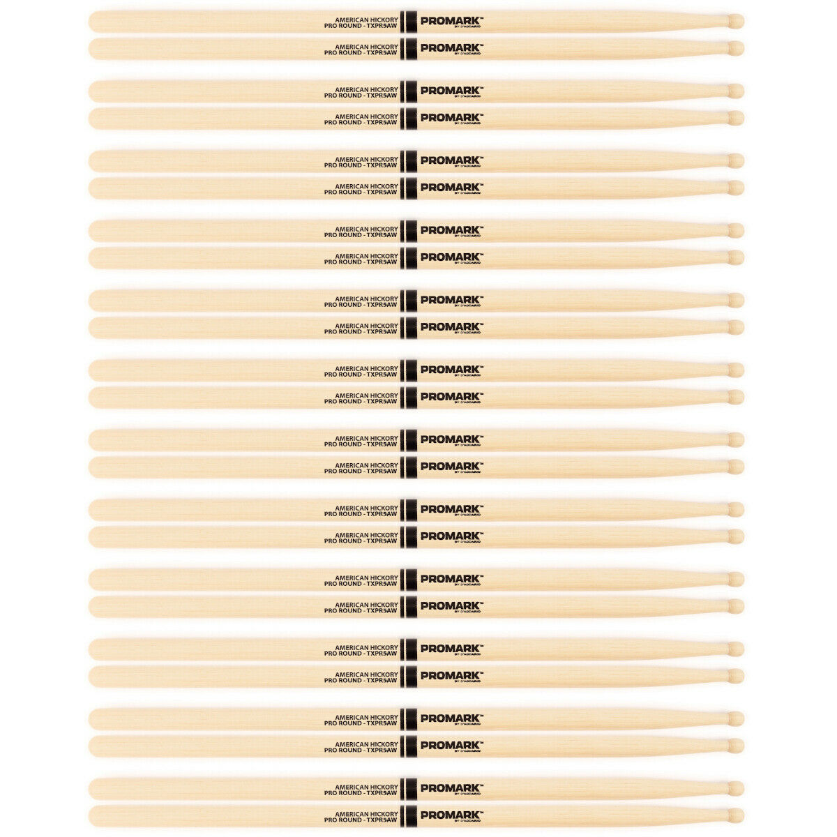 12 Paar Pro Mark TXPR5AW American Hickory Pro Round Wood Tip Drumsticks 5A Pair