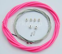 Bicycle 5mm LINED brake cable housing and hardware kit BMX MTB - HOT NEON PINK