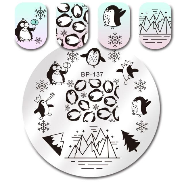 BORN PRETTY Nail Art Stamp Image Plate Stencil Snowflake Design  BP-137