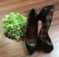 Betsey Johnson Womens Black Red Plaid Pumps Sz 9 Patent Leather Shoes Heels