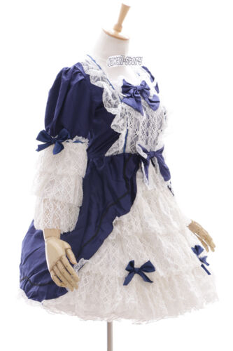 JL-622-2 blau weiß langarm Classic Spitze Lace Gothic Lolita Kleid Kostüm dress