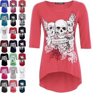 buy various styles factory price Details about Womens Halloween Ladies Plus Size Skull Forever Young Printed  Dipped Hem Tops