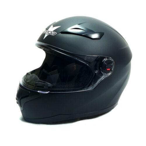 Vega AT2 Matte Black Full Face Motorcycle Helmet DOT Approved Mens Womens