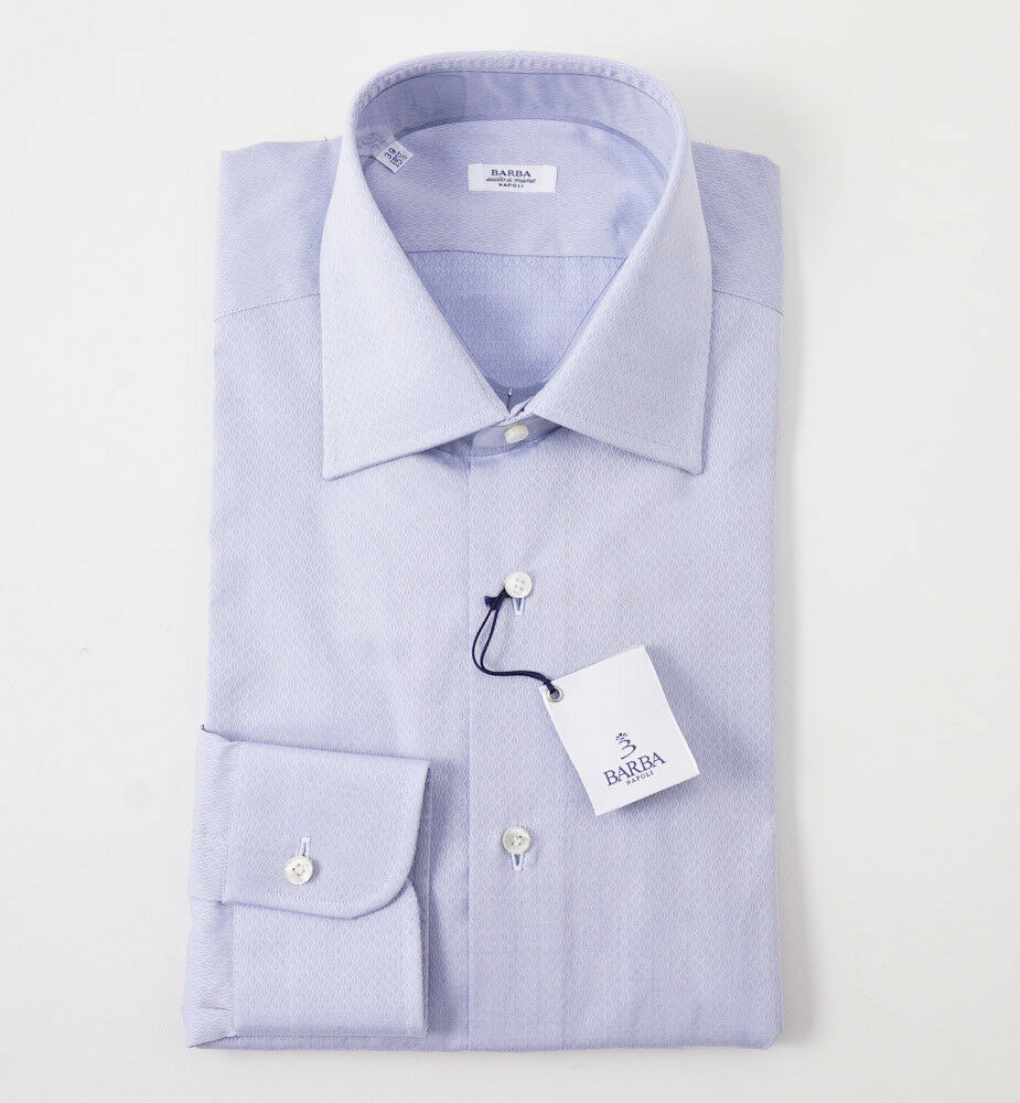 NWT  BARBA NAPOLI bluee Diamond Jacquard Cotton Dress Shirt 16 x 36