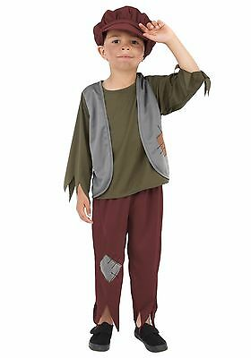 Boys Hobo Costume Tattered Look Shirt Pants Vest Baggy Hat Halloween Child Kids