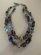Vintage Designer Vendome Double Strand Blue Glass Beaded Necklace Green Flower