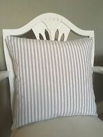 Grey Stripe Fabric Shabby Chic French Vintage Style Cushion Cover