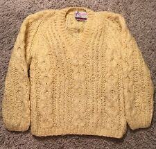 Vintage Dance Creations Yellow Wool/Mohair V-Neck Sweater Made In Italy