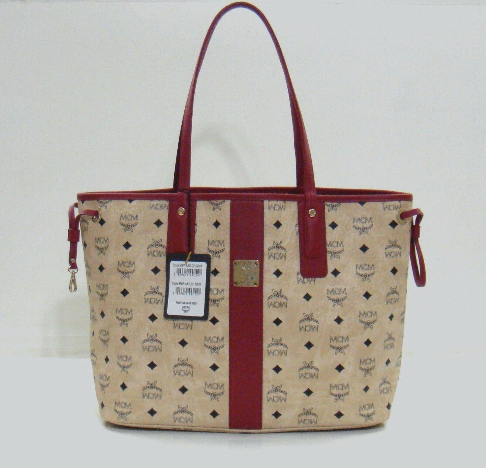 MCM Liz Visetos Beige Reversible Medium Shopper Tote Bag (Without Pouch)