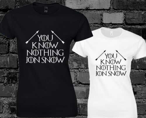 You Know Nothing Jon Snow 2 Ladies T Shirt Game Of Thrones Stark Tumbr Fashion