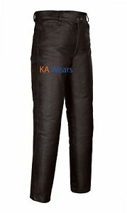 Mens-Real-Leather-Motorbike-Motorcycle-Biker-Jeans-Trouser-Pants-Fashion-Brown