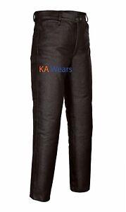 Hombre-Cuero-Real-Moto-Motocicleta-Jeans-Pantalones-Pantalon-Moda-Marron