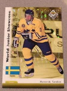 Henrik-Sedin-1998-UD-Choice-034-Reserve-034-World-Junior-Showcase-RC-295-HOF