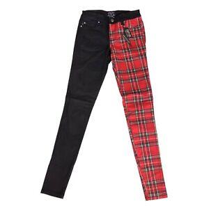 Tripp NYC Punk Black Red Tartan Plaid Split Personality Jeans Pants Size 1 / 25