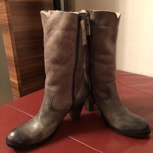 on sale de103 582c2 Details zu Original Buffalo Stiefel Gr.36 Leder Lammfell Grau