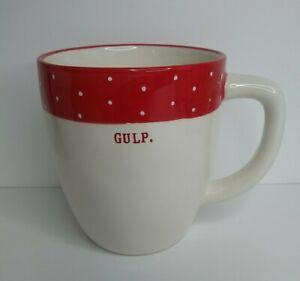 """Rae Dunn Magenta """"Gulp"""" Coffee Mug Cup Red Ivory/white w/ Polka Dots Farmhouse"""