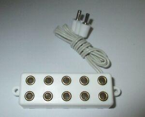 Barre-de-Distributeur-Avec-Cable-Raccordement-5-Connexions-2-6mm-Blanc-Neuf