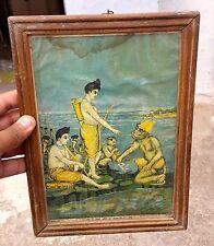ANTIQUE RAVI UDAY MAKING OF RAM SETU BY LORD RAM,HANUMAN LITHO PRINT FRAMED PIC