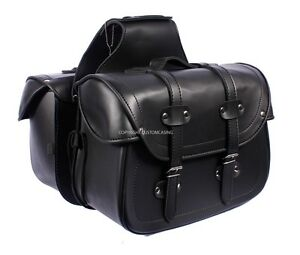 LEGEND-Black-Motorcycle-Motorbike-Panniers-Biker-Cruiser-Leather-Saddle-bag