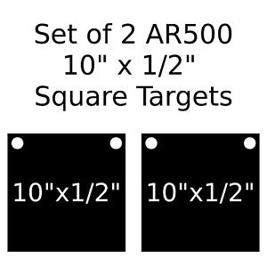 Conjunto de 2 cuadrado de destino de acero AR500 1 2  X 10  pintado de negro práctica de disparo