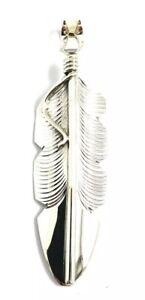 Native-American-Sterling-Silver-Navajo-Handmade-Feather-Design-Pendant