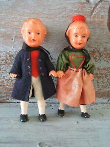 Vintage-Western-Germany-Heavy-Celluloid-Boy-amp-Girl-4-5-034-Toy-Dollhouse-Dolls