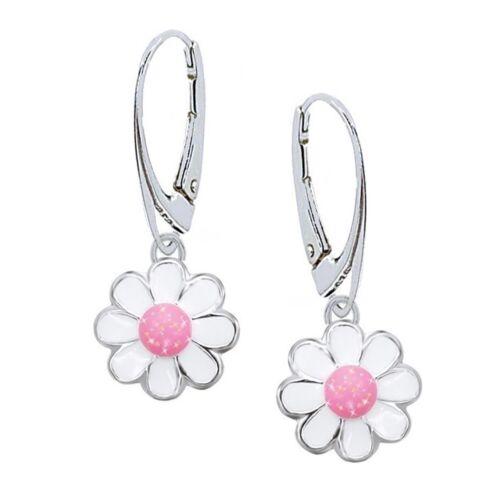 Glitzer Blume Halskette Klapp-Brisur Ohrringe 925er Echt Silber Mädchen Kinder
