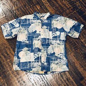 Cooke-Street-Men-039-s-Reverse-Print-Hawaiian-Shirt-XXL-2XL-Pineapples-Aloha-Blue