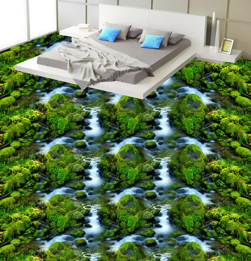 3D Grün Peaks Stream 73 Floor WallPaper Murals Wall Print Decal AJ WALLPAPER US