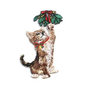 Puppy Kitten Christmas Embroidered Iron On Applique Patch Dog Cat