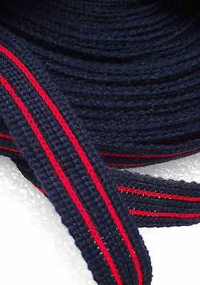 Striped fabric braid trim 18 mm 3/4 inch 10 METRES dress-making craft NAVY RED