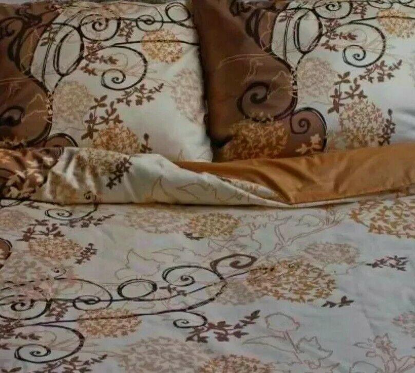 Bedding 200 × 220 Cotton Brown Beige Black Ladies Mens 70 x80 Quilt Set