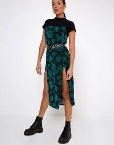 MOTEL-ROCKS-Daxita-Midi-Dress-in-Romantic-Rose-Flock-Teal-Small-S-MR40