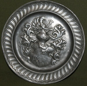 Vintage hand made ornate pewter wall decor plate | eBay