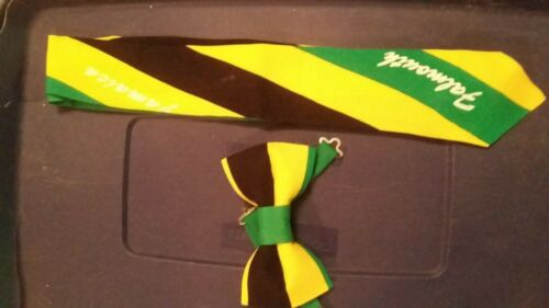 Jamaican color Tie very sleek rich A show stopper. bold Black//green//gold