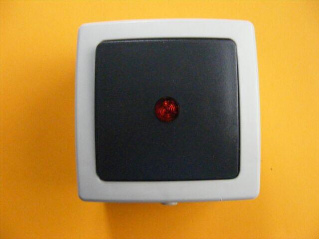 Aufputz Feuchtraum Schalter Kontrollschalter Kopp Nautic grau anthrazit