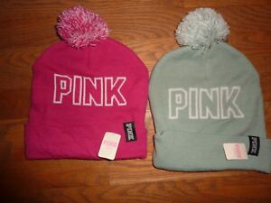 VICTORIAS SECRET PINK NATION KNIT WINTER LIGHT BLUE PINK BEANIE HAT Choice NWT