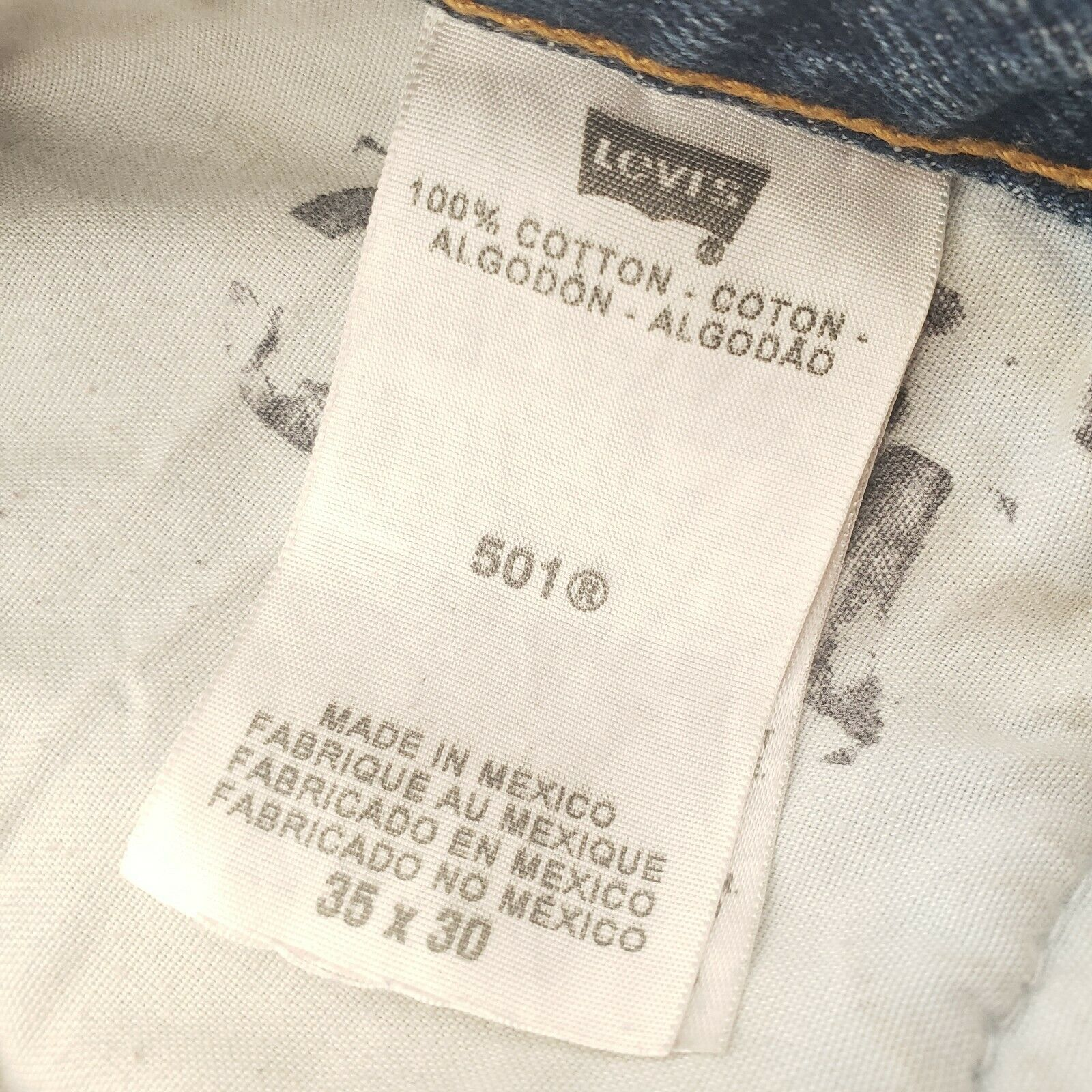 Levis 501 Button-Fly Mens 35x30 Well Worn Faded D… - image 9