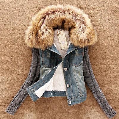 Women Winter Warm Fur Collar Slim Denim Trench Coat Jean Jacket Outerwear Tops
