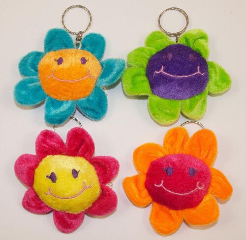 80 x Schlüsselanhänger Blume mit Smiley-Gesicht 9 cm Schlüsselring