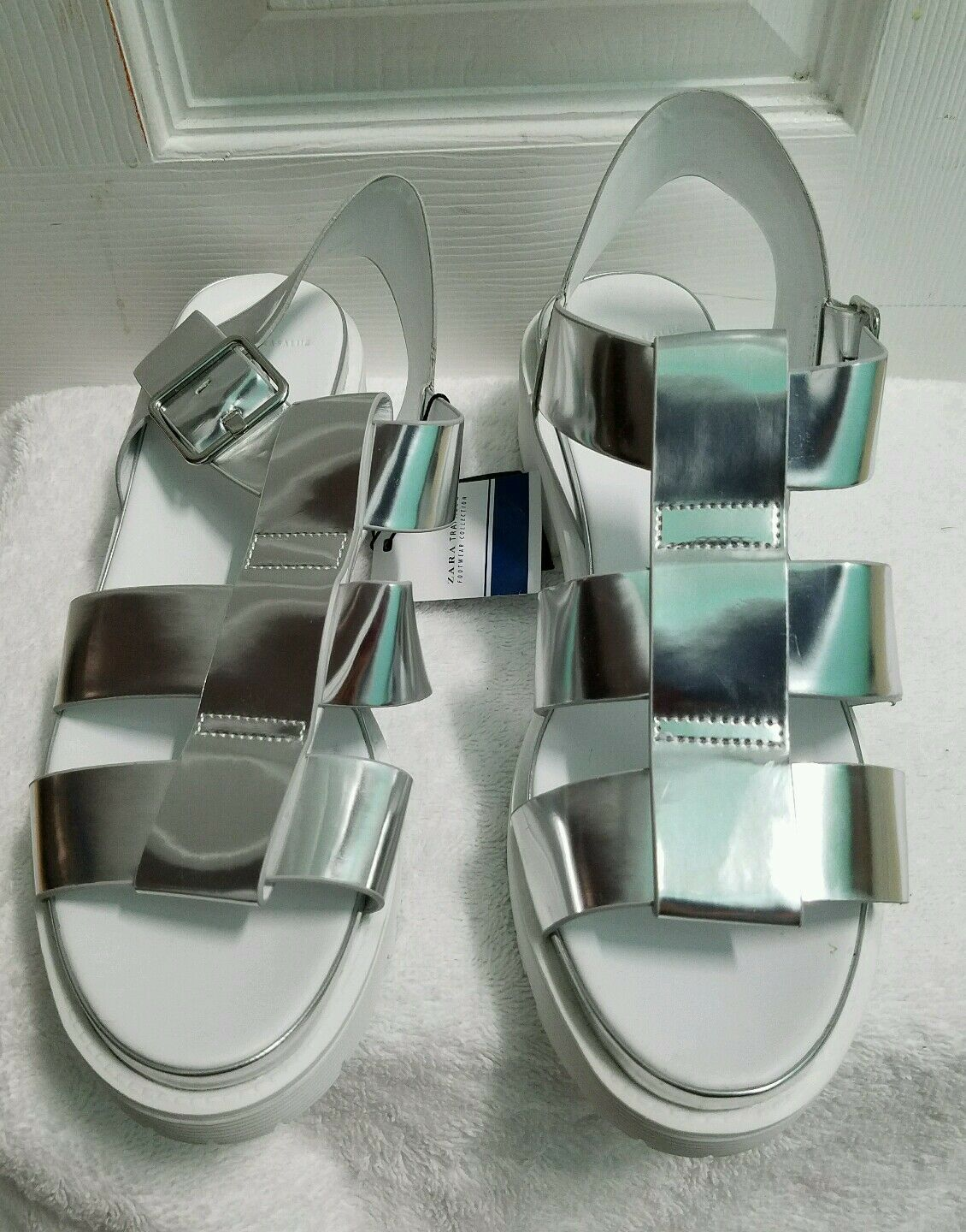 ZARA SHINY CAGE CAGE SHINY SANDAL EUR 40 US 9 REF. 3220 001 NWT a90009